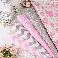 Хлопковая ткань серого и розового цвета с сердечками, горошком и зигзагом