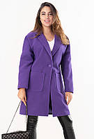 Женское кашемировое пальто фиолетового цвета с карманами. Модель 19271, размеры 46-50