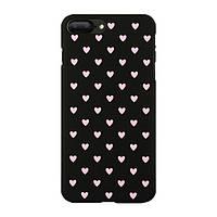 Чехол накладка на iPhone 6/6s черный с розовыми сердечками, плотный силикон