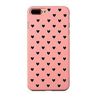 Чехол накладка на iPhone 7 Plus/8 Plus розовый с черными сердечками, плотный силикон