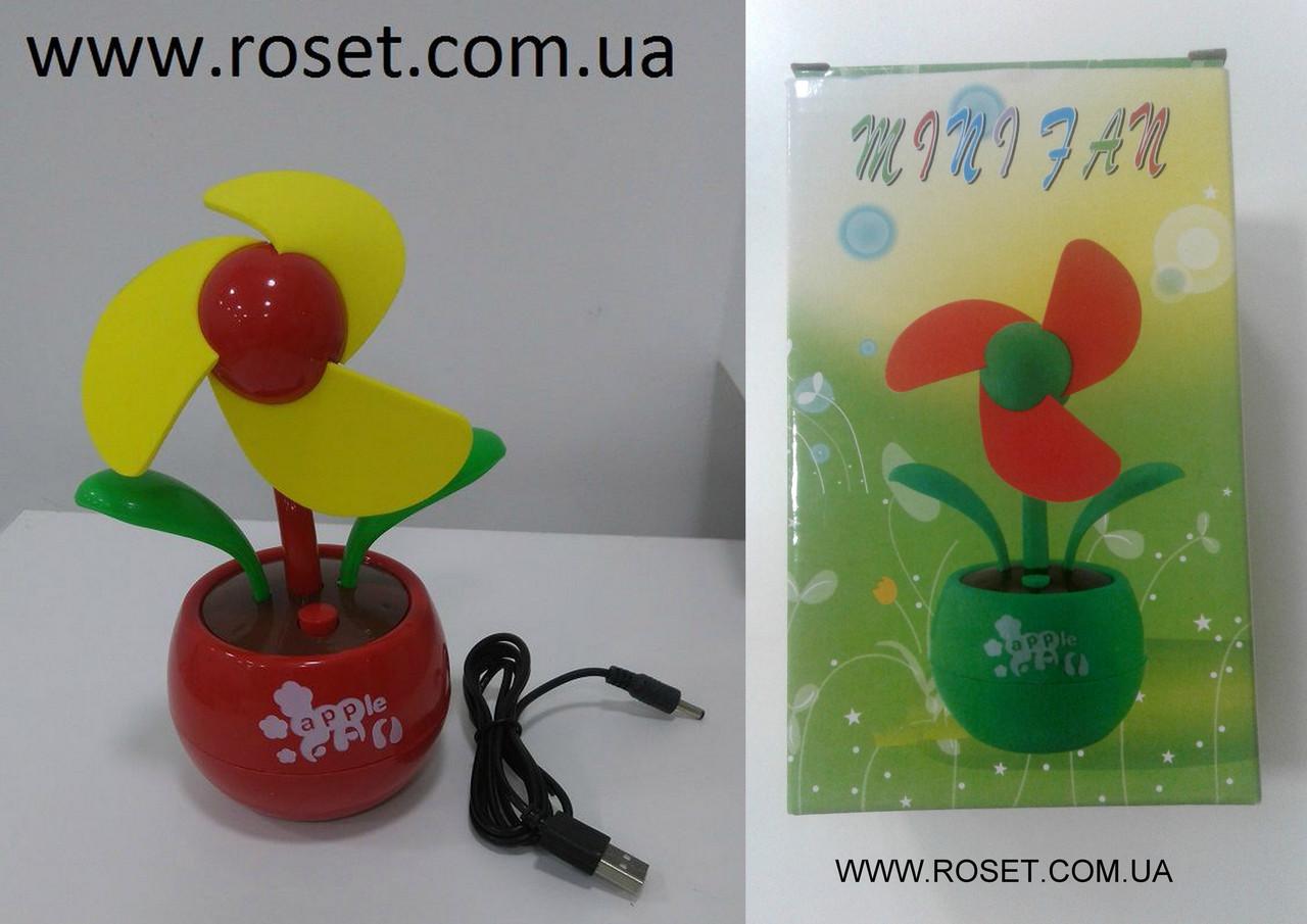 Настільний портативний USB вентилятор «Квітка», жовтий