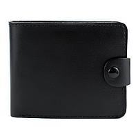 Кожаное мужское портмоне на кнопке П3-01 (черное)
