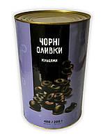 Маслины резанные (Чёрные оливки)TM Del Gusto 4кг
