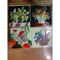 Картина керамика №1 квадрат 10*10 (цветы, рыбы, бабочки)