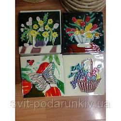 Керамические картины №1 квадрат 10*10 (цветы, рыбы, бабочки)