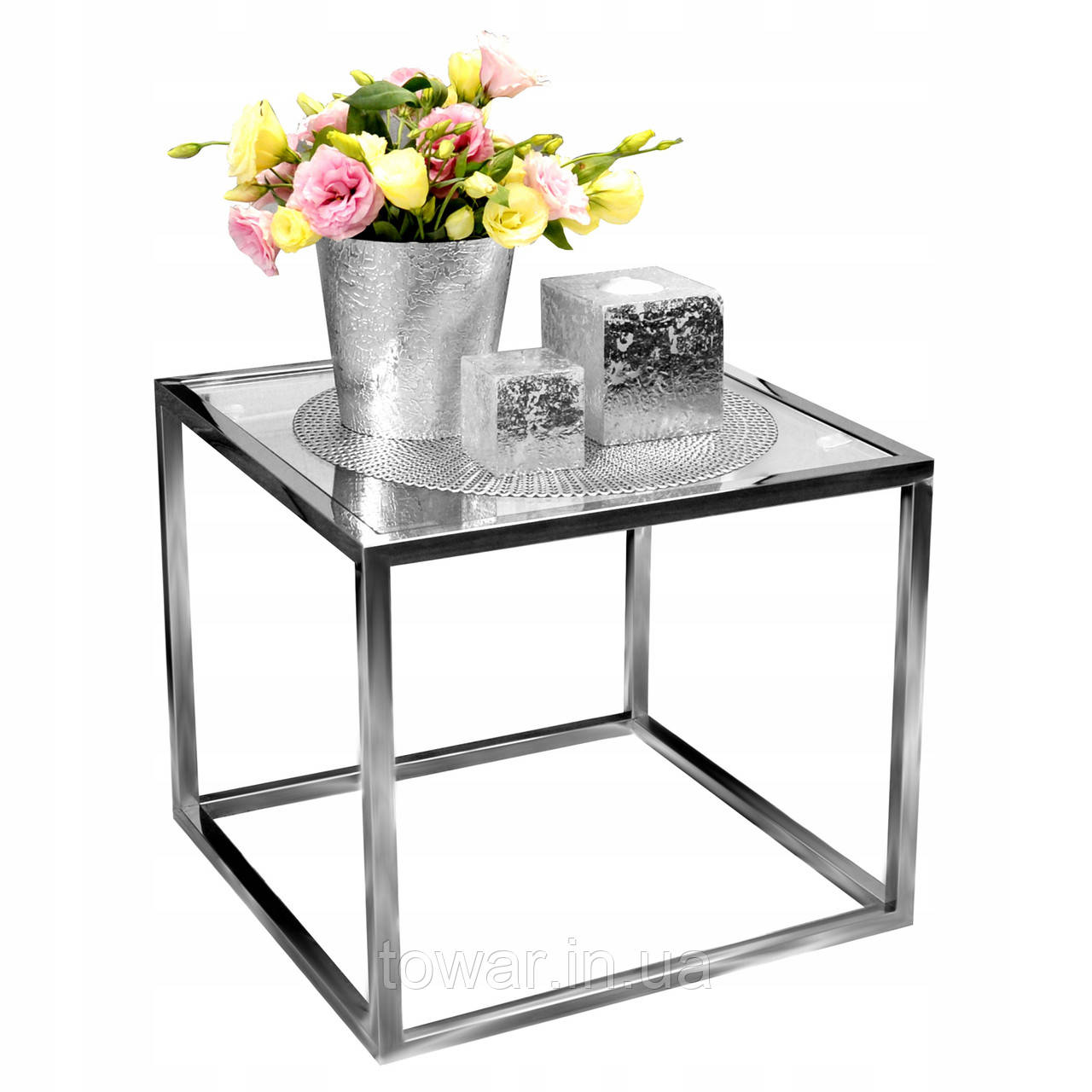 Журнальный столик из хромированной стали 50x50 GLAMOR
