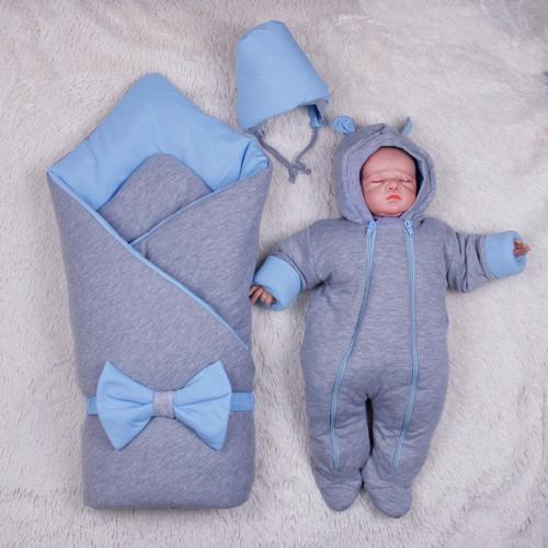 Демисезонный набор для новорожденных Mini, серый с голубым
