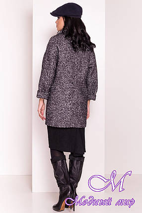 Женское серое весеннее пальто с брошью (р. S, M, L) арт. Кларенс крупное букле - 9800, фото 2