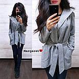 Женский стильный плотный кардиган-пальто с капюшоном и поясом (4 цвета), фото 2