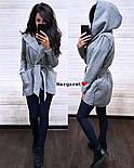 Женский стильный плотный кардиган-пальто с капюшоном и поясом (4 цвета), фото 3
