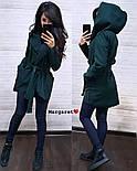 Женский стильный плотный кардиган-пальто с капюшоном и поясом (4 цвета), фото 5
