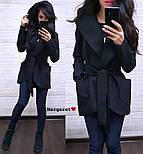Женский стильный плотный кардиган-пальто с капюшоном и поясом (4 цвета), фото 9