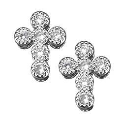 Бусина с цирконами крест 11х9х4мм, серебро.