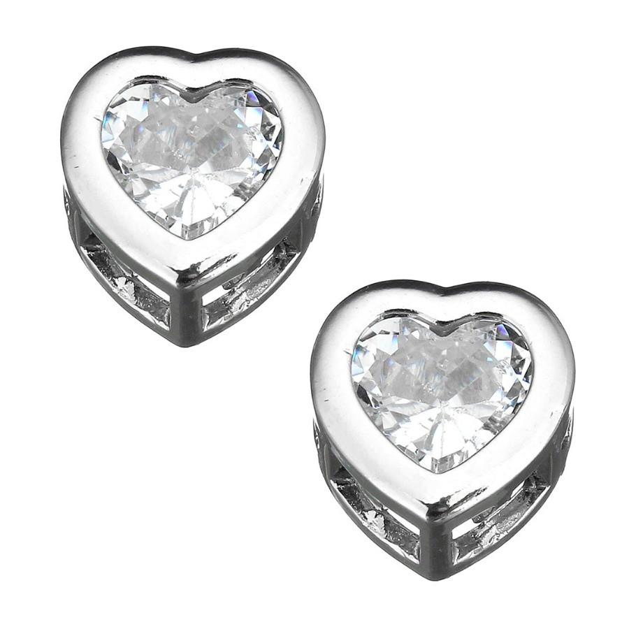 Металлическая Бусина с цирконами сердце 9х9х5мм.