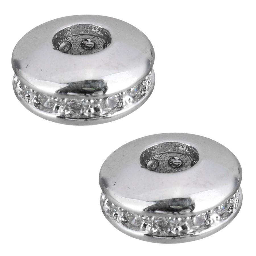 Рондель с цирконами 7х4х7мм, серебро.