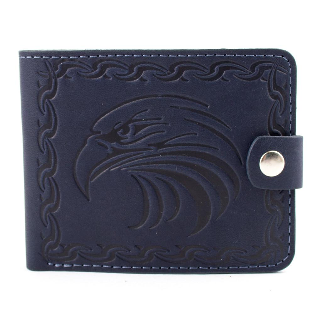 Кожаное портмоне П2-23 с орлом (синее)