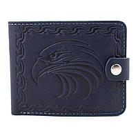 Кожаное портмоне П2-23 с орлом (синее), фото 1