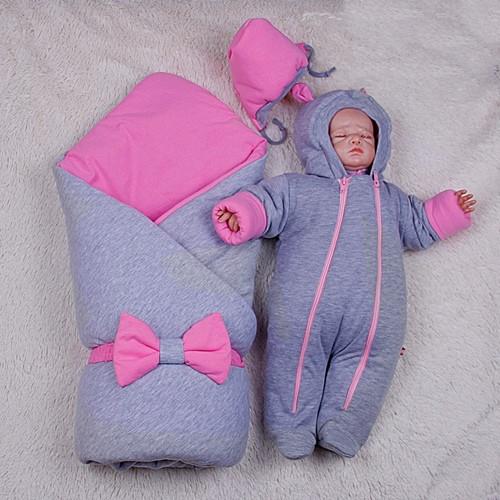 Демисезонный набор для новорожденных Mini, серый с розовым