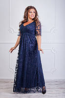 Женское платье макси с флоком на сетке