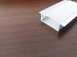 Алюминиевый врезной широкий led-профиль ЛПВ-10/24мм + линза в комплекте матовая