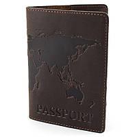 """Обкладинка шкіряна на закордонний паспорт """"Карта"""" (коричнева), фото 1"""