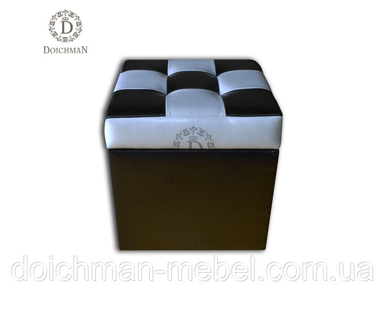 Пуфик черно-белый открывающийся с нишей под сидением