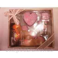 Набор свечей 7 шт с розовым сердцем и упаковкой с бантом SBS8