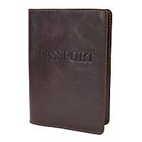 Обкладинка на паспорт шкіряна HC-04 (коричнева)