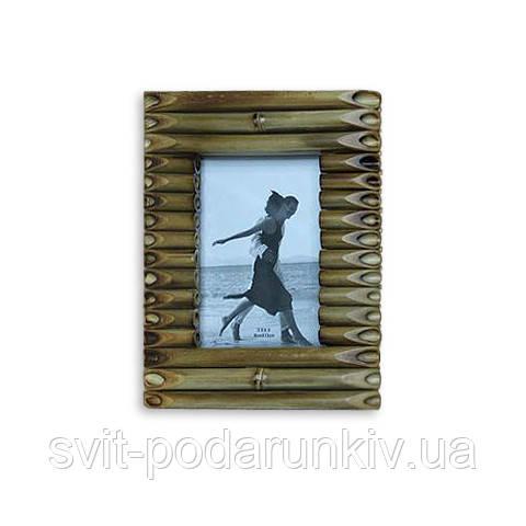 Деревянная фоторамка оригинальная из бамбуковых трубочек S956