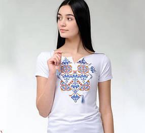 Женская футболка-вышиванка короткий рукав цветной орнамент Элегия до 56 размера