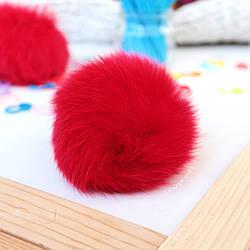 Помпон из меха кролика 8-9 см, цвет красный
