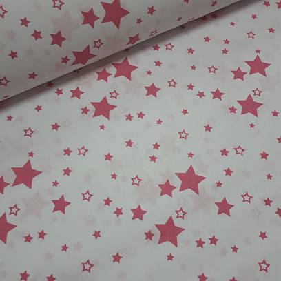 Ткань польская хлопковая, розовый звездопад на белом