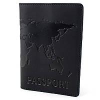 "Обложка кожаная на загранпаспорт ""Карта"" (черная)"