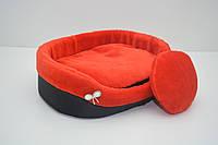 Лежак для собак и котов Мех красный
