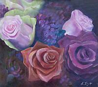 Розы (В вечернем саду) холст 45х50 см картина масло