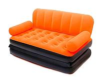 Раскладной велюровый диван 2 в 1 Bestway 67356, 188 х 152 х 64 см, с электрическим насосом  оранжевый
