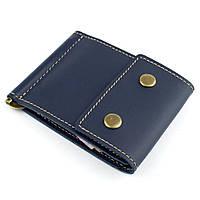 Кожаный зажим для денег Crez-2 (синий), фото 1