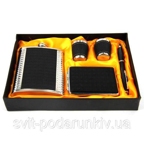 Фляга для алкоголя 2 стакана, портсигар, ручка (черный) A112