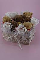 """Композиция из конфет в коробке """"Сердце с мишками и конфетами"""""""