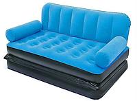 Раскладной велюровый диван 2 в 1 Bestway 67356, 188 х 152 х 64 см, с электрическим насосом  синий