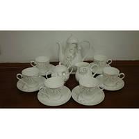 Белый чайный сервиз китайский фарфоровый с красивым узором S2251
