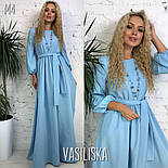 Женское стильное однотонное платье в пол с поясом (5 цветов), фото 5