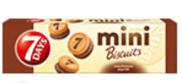 Мини печенье 7 Days Chipita з какао-кремом і молочним шоколадом 100г