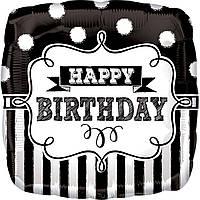 Фольгированный шар с рисунком Anagram Happy Birthday черно-белый орнамент