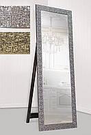Зеркало напольное factura в пластиковом багете с опорной деревянной подставкой 60х174 см серебро, фото 1