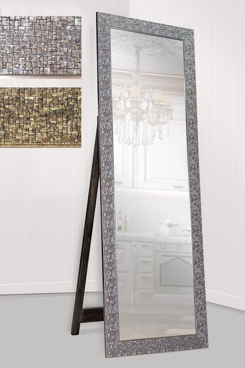 Зеркало напольное в раме Factura с деревянной подставкой Shining stone 60х174 серебро