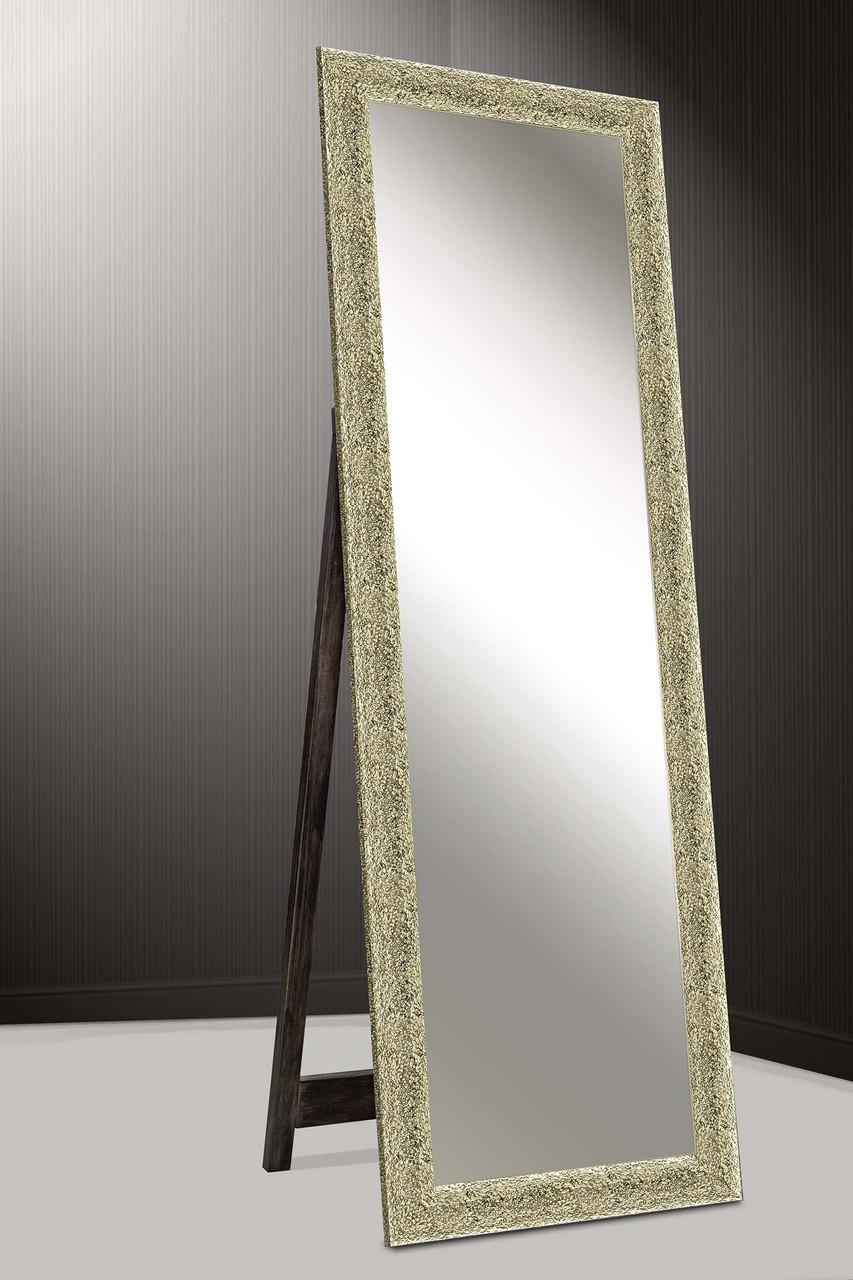 Зеркало напольное factura в пластиковом багете с опорной деревянной подставкой 60х174 см золотистое фактурное