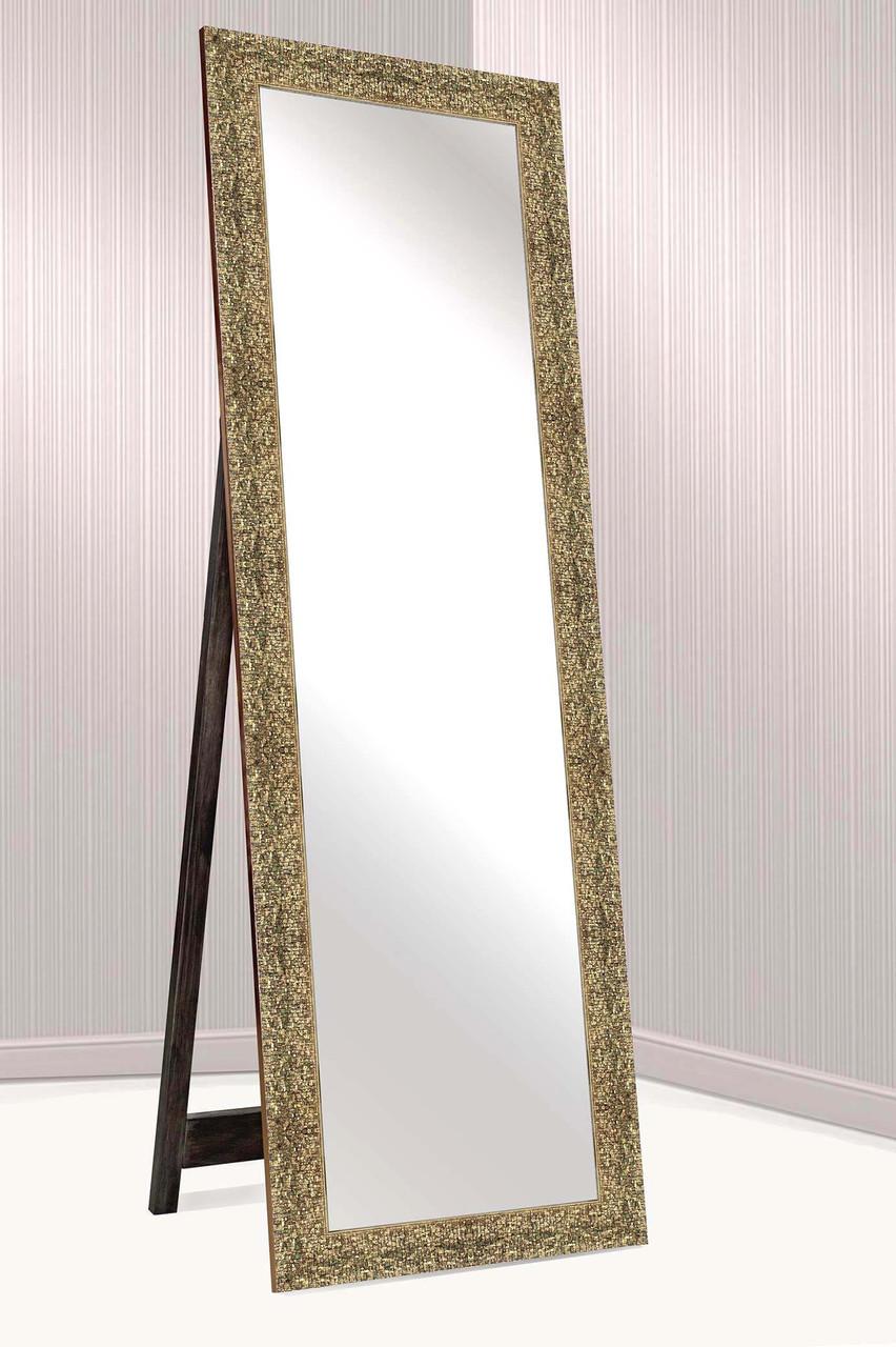 Зеркало напольное в раме Factura с деревянной подставкой  Shining stone 60х174 золото