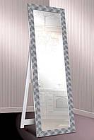 Зеркало напольное factura в пластиковом багете с опорной деревянной подставкой 60х174 см серебро с фактурой, фото 1