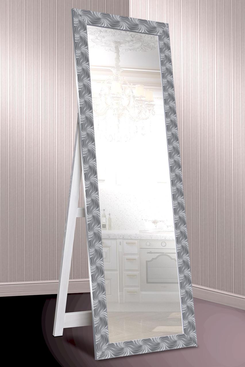 Зеркало напольное factura в пластиковом багете с опорной деревянной подставкой 60х174 см серебро с фактурой